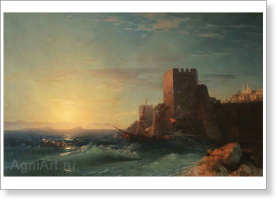 Aivazovsky Ivan. Towers on the Rock near the Bosporus. Art print on canvas