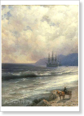 Aivazovsky Ivan. High Tide. Art print on canvas