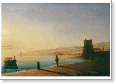 Aivazovsky Ivan. Quay in Feodosiya. Art print on canvas