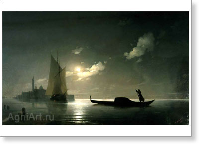 Aivazovsky Ivan. Gondolier on the Sea at Night. Art print on canvas