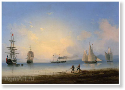 Aivazovsky Ivan. Russian And French Frigates. Art print on canvas