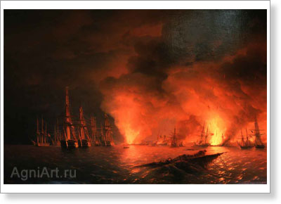 Aivazovsky Ivan. Sinope -- Night after the Battle on 18 November 1853. Art print on canvas