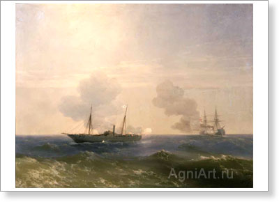 "Aivazovsky Ivan. Battle of the Steamship ""Vesta"" with the Turkish Battleship ""Fethi-Bulend"" on the Black Sea on 16 July 1877. Art print on canvas"