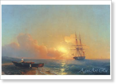 Aivazovsky Ivan. Fishermen on the Seashore. Art print on canvas - paintings, sale