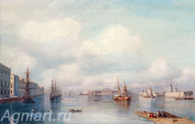 Aivazovsky Ivan. View of St. Petersburg. Art print on canvas