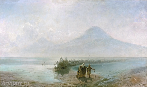 Aivazovsky Ivan. Descent of Noah from Ararat. Art print on canvas