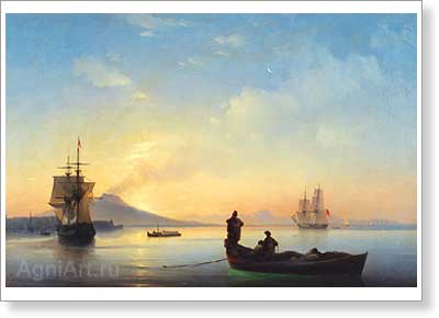Aivazovsky Ivan. Bay of Naples in the Morning. Art print on canvas