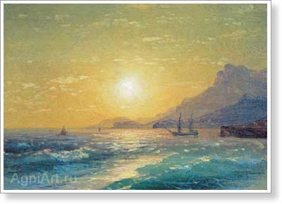Aivazovsky Ivan. Sunset in the Bay. Fine art postcard A6