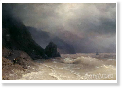 Aivazovsky Ivan. Seashore. Art print on canvas