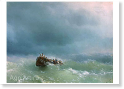 Aivazovsky Ivan. During the Storm. Art print on canvas
