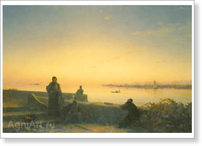Aivazovsky Ivan. Mkhitarists on St. Lazarus Island — Venice. Art print on canvas