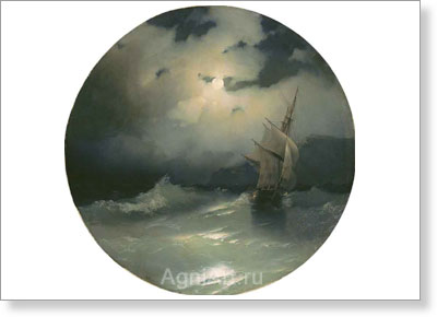 Aivazovsky Ivan. Sea on a Moonlit Night. Art print on canvas