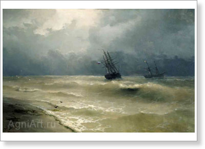 Aivazovsky Ivan. Breaking Waves near the Crimean Shores. Art print on canvas