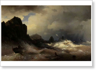 Aivazovsky Ivan. Hurricane at Sea. Sketch. Art print on canvas