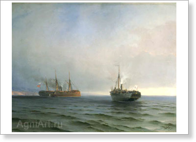 "Aivazovsky Ivan. Capture of the Turkish Troopship ""Mersina"" by the Steamer ""Russia"" on 13 December 1877. Art print on canvas"