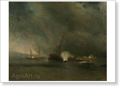 "Aivazovsky Ivan. Mine Launches of the Steamship ""Grand Duke Konstantin"" Attacking the Turkish Battleship ""Assari-Shevket"". Art print on canvas"