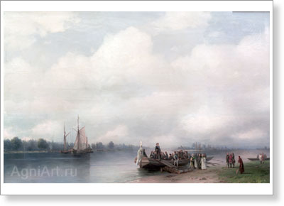 Aivazovsky Ivan. Arrival of Peter I to the Neva River. Art print on canvas