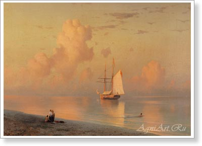 Aivazovsky Ivan. Sunset. Art print on canvas - paintings, sale of paintings