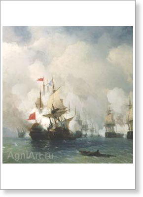 Aivazovsky Ivan. Battle in the Chios Channel. Fine art postcard A6