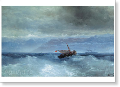 Aivazovsky Ivan. Caucasian Mountains from the Sea. Fine art postcard A6