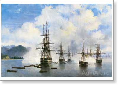 Aivazovsky Ivan. Nikolay Rayevsky's Landing near Subashi. Art print on canvas