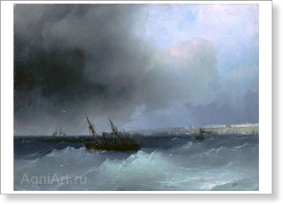 Aivazovsky Ivan. View of Odessa from the Sea. Art print on canvas