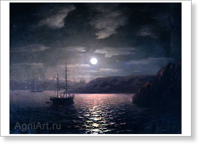 Aivazovsky Ivan. Moonlit Night on the Black Sea. Art print on canvas