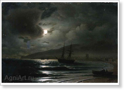 Aivazovsky Ivan. Night -- Harbor in Feodosiya. Art print on canvas