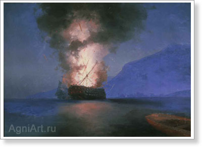 Aivazovsky Ivan. Explosion of the Ship (the last unfinished work). Art print on canvas