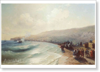 Aivazovsky Ivan. Arrival of Catherine II in Feodosiya. Art print on canvas