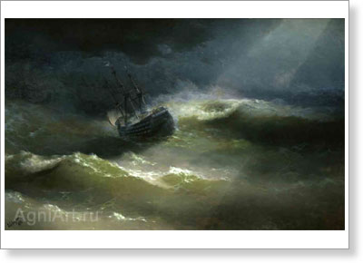 "Aivazovsky Ivan. Ship ""Mary"" during the Storm. Art print on canvas"