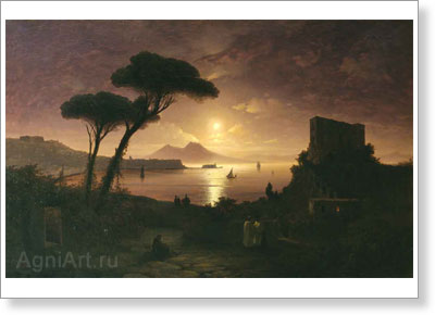 Aivazovsky Ivan. Bay of Naples on a Moonlit Night . Art print on canvas