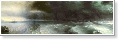Aivazovsky Ivan. From Calm to Storm. Art print on canvas