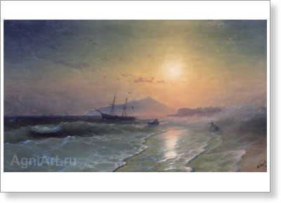 Aivazovsky Ivan. Island of Ischia near Naples. Art print on canvas