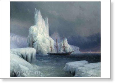 Aivazovsky Ivan. Ice Mountains. Art print on canvas