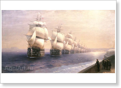Aivazovsky Ivan. Black Sea Fleet Manoeuvres (The Last Imperial Review of the Black Sea Fleet by Czar Nikolay I). Art print on canvas