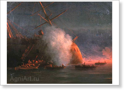 Aivazovsky Ivan. Explosion of the Three-masted Turkish Steamship in Sulin on 27 September 1877. Art print on canvas