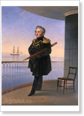 Aivazovsky Ivan. Vice Admiral M.P. Lazarev. Art print on canvas