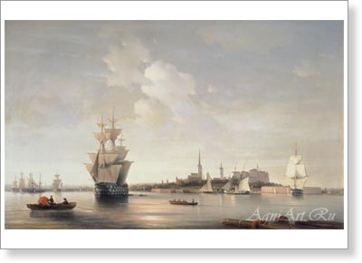 Aivazovsky Ivan. View of Reval from the Sea. Art print on canvas - paintings, sale