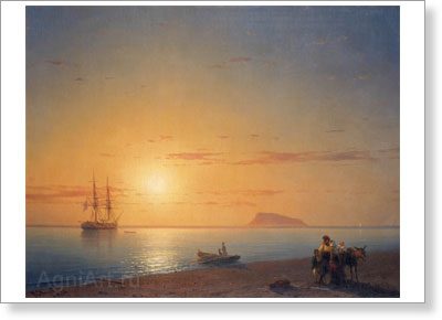 Aivazovsky Ivan. Seashore - Farewell. Art print on canvas