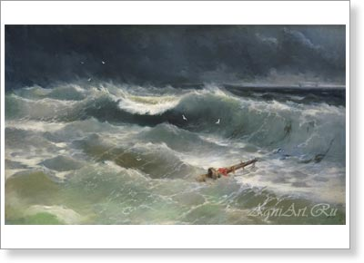 Aivazovsky Ivan. Storm on the Azov Sea. Fine art postcard A6