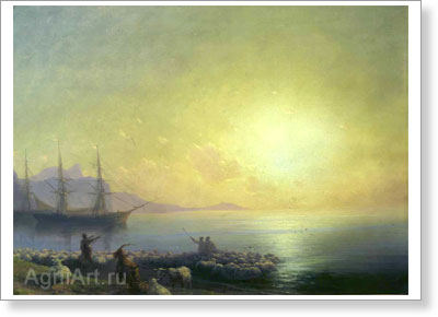 Aivazovsky Ivan. Bathing Sheep  (Before the Sheepshearing in the Crimea, on the Black Sea Shore). Art print on canvas