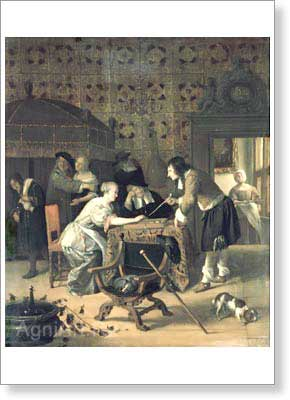 Steen Jan. Backgammon Players. Fine art postcard A6