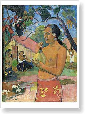 Gauguin Paul. Eu Haere Ia Oe (Woman Holding a Fruit). Fine art postcard A6