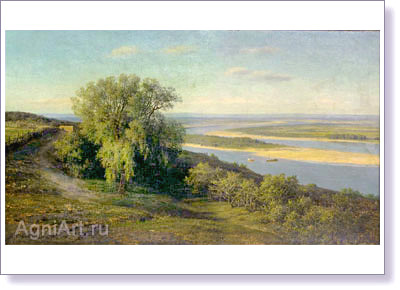 Klodt Mikhail. The Volga near Simbirsk. Art print on canvas