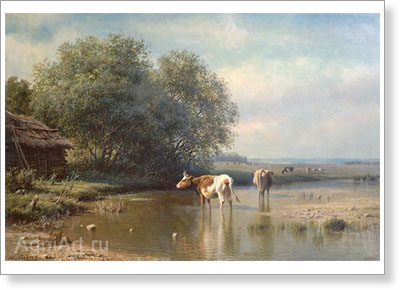 Klodt Mikhail. Cows at the Watering Place. Art print on canvas