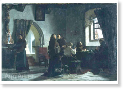 Klodt Mikhail. Tailor's Workshop in the Catholic Franciscan Cloister. Art print on canvas