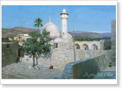 Polenov Vasily. Mosque in Jenin. Art print on canvas - paintings, sale of paintings