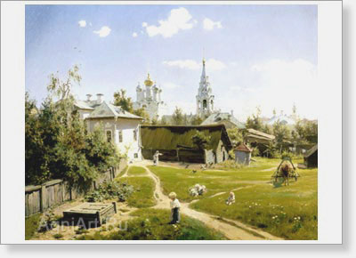 Polenov Vasily. Moscow Courtyard. Art print on canvas