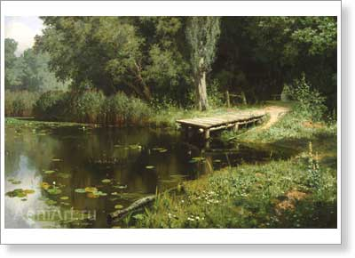 Polenov Vasily. Overgrown Pond. Art print on canvas